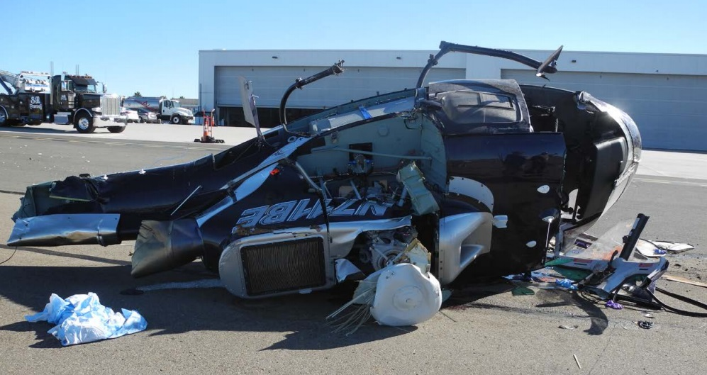 Wreckage of Airbus Helicopters AS350B3 N711BE on the ramp at Carlsbad, CA (Credit: NTSB)