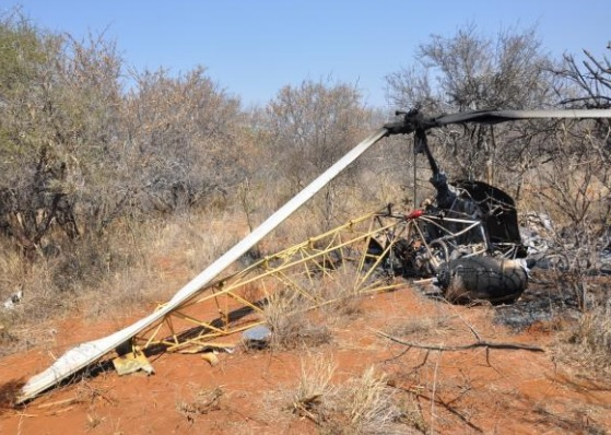 Wreckage of Westland-Bell 47G-3B-1 Sioux AH1 ZS-HGY (Credit: SACAA)