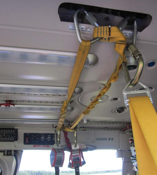DSP Harness System Secured Inside B429 Cabin (Credit: FAA via NTSB)