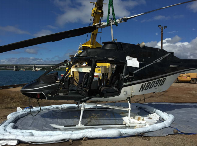 Wreckage of Genesis Helicopters Bell 206B3 N80918 after Salvage from Pearl Harbour (Credit: NTSB)
