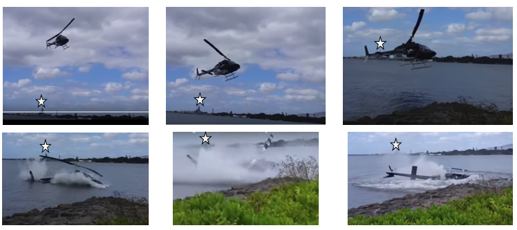 Genesis Helicopters Bell 206B3 N80918 Survivable Water Impact (SWI) in Pearl Harbour, Honolulu (Credit: Shawn Winrich) White Star Marks USS Missouri as a Fixed Reference Point.  Time from First Photo to Fourth (Impact) c 3s