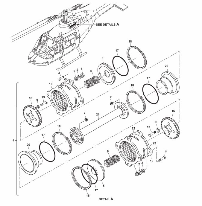 B206 engine-to-transmission-driveshaft diagram (Credit: Bell via NTSB)