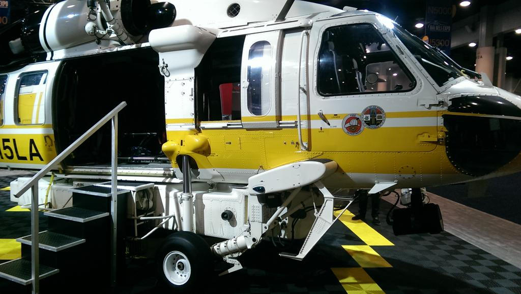 LA County FD Sikorsky S-70 Firehawk Showing Raised Main Landing Gear to Accommodate the Belly Tank