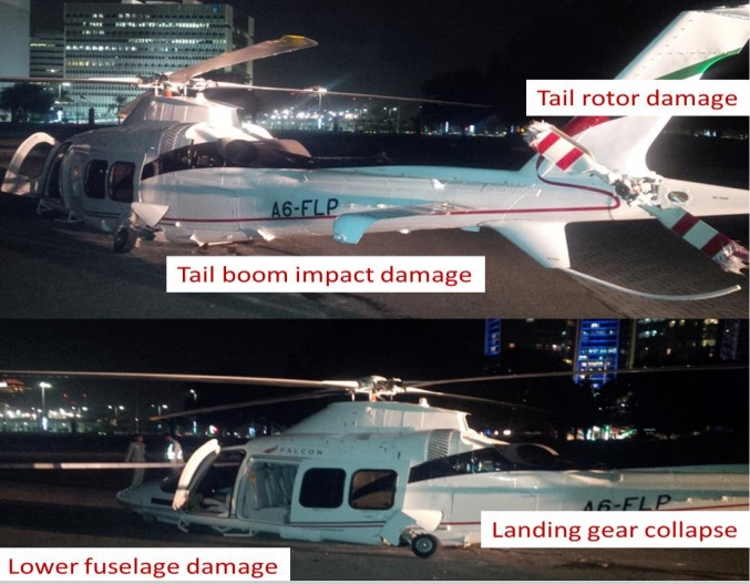 Falcon Aviation Services (FAS) Leonardo AW109SP A6-FLP after Impact in Abu Dhabi (Credit: GCAA AAIS)