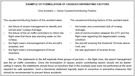 icao formulation of cause and contributory factors