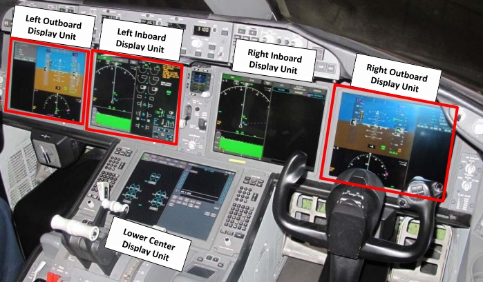 United Airlines B787-800 N26906: Flight deck heads down display unit arrangement  - those outlined in red blanked during the incident (Credit: NTSB)