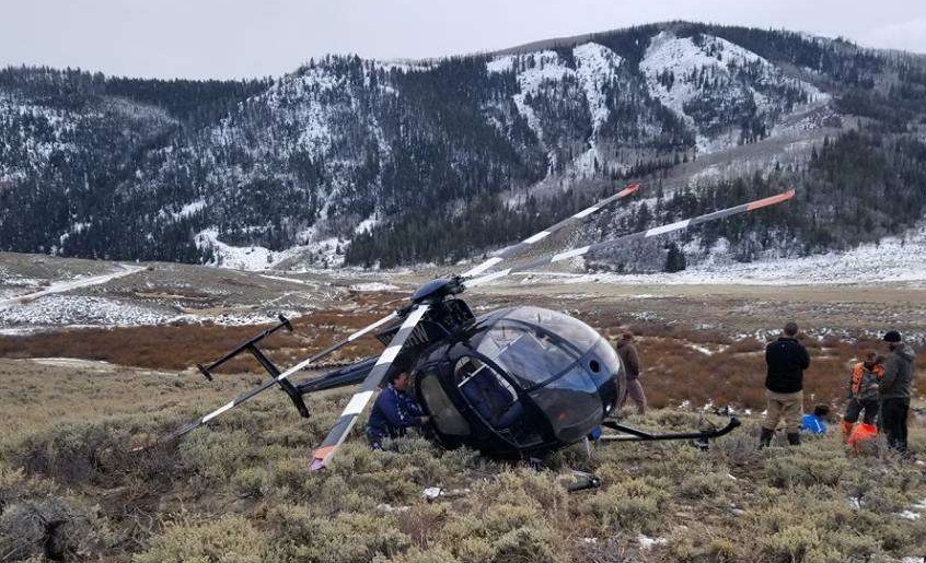 Wreckage of Hughes 369 N338HW (Credit: Wasatch County Sheriff's Office)