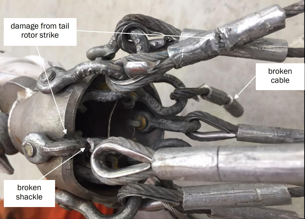 Monsoon Bucket Cable Damage on Way To Go Heliservices' Airbus Helicopters AS350BA ZK-HKW (Credit: TAIC)