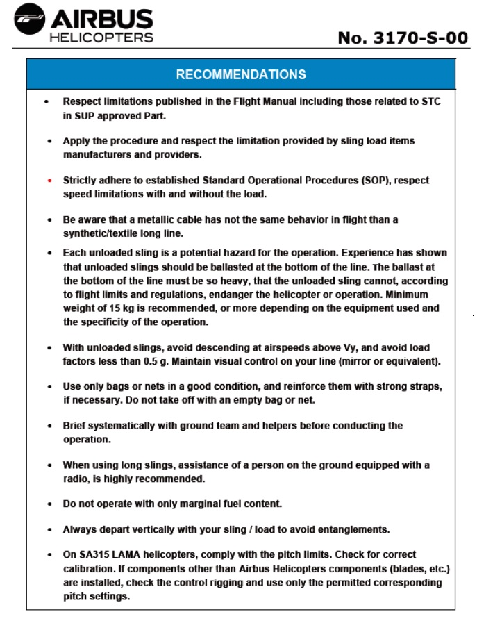 Safety Recommendations  Safety Information Notice No. 3170-S-00 (Credit: Airbus Helicopters )