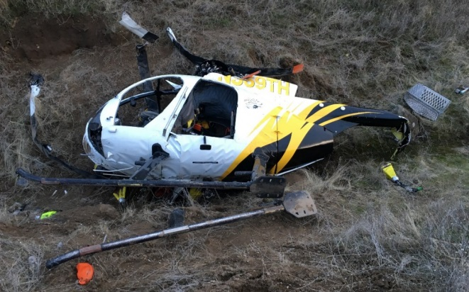 Wreckage of Hells Canyon Helicopters Hughes 369D N369TH near Pomeroy, Washington (Credit: via NTSB)