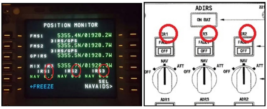 FGRSQ a330 irs display and switching