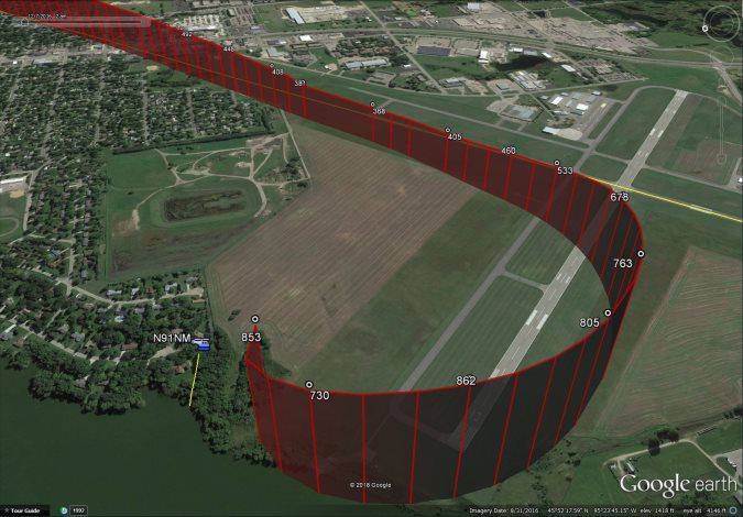 Flight Path of A109S N91NM (Credit: NTSB)