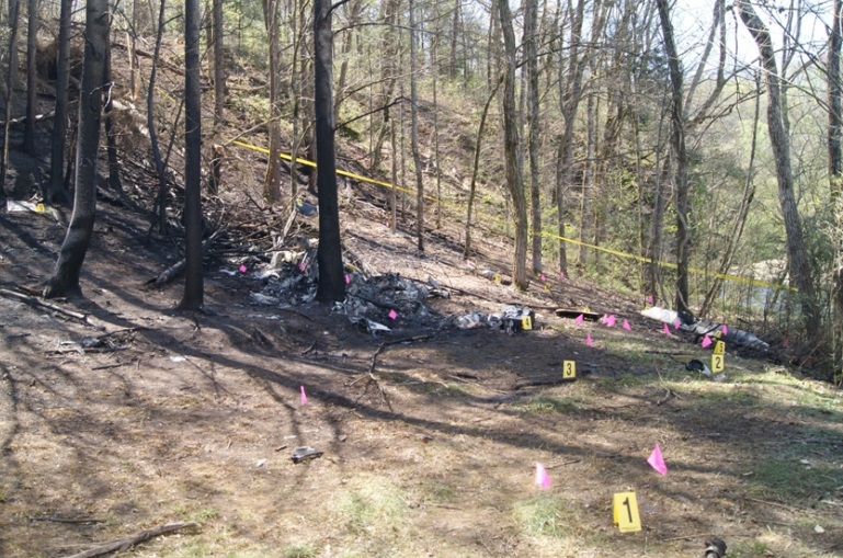 Bell 206L N16760 Accident Site (credit: NTSB)