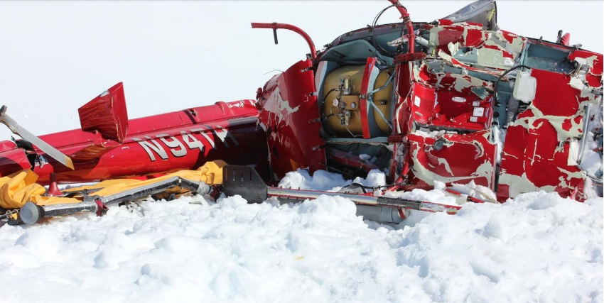 Wreckage of Temsco Airbus AS350B2 N94TH, Denver Glacier, AK (Credit: NTSB)
