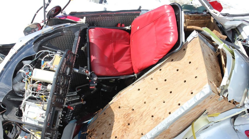 Dog Box and Pilot's Seat in Wreckage of Temsco Airbus AS350B2 N94TH, Denver Glacier, AK (Credit: NTSB)