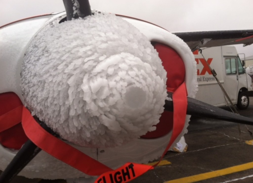 FedEx Cessna C208B N950FE Spinner, Frost and Ice Buildup (Credit: NTSB)