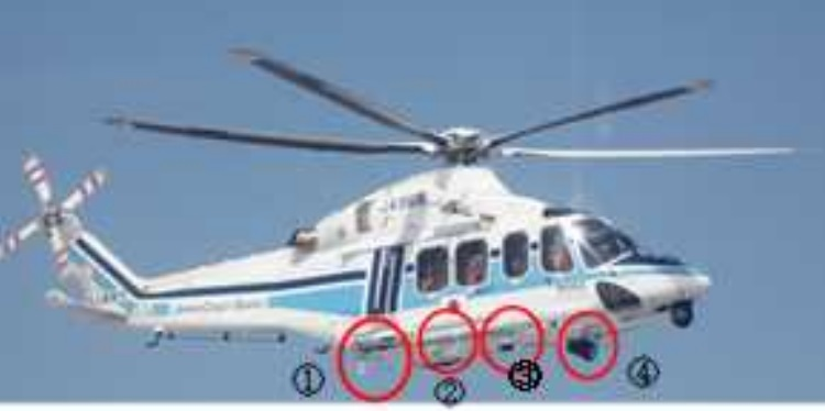 Damage to the Belly of Japan Coast Guard SAR AW139 JA968A (Credit: JTSB)