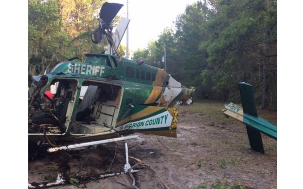 Wreckage of Bell 206B2 N911GE (Credit: Marion Sheriff County via NTSB)