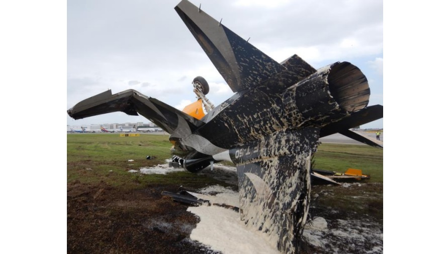 Wreckage of ROKAF Display Team KAI T-50 Golden Eagle Trainer at Singapore (Credit: KAI)