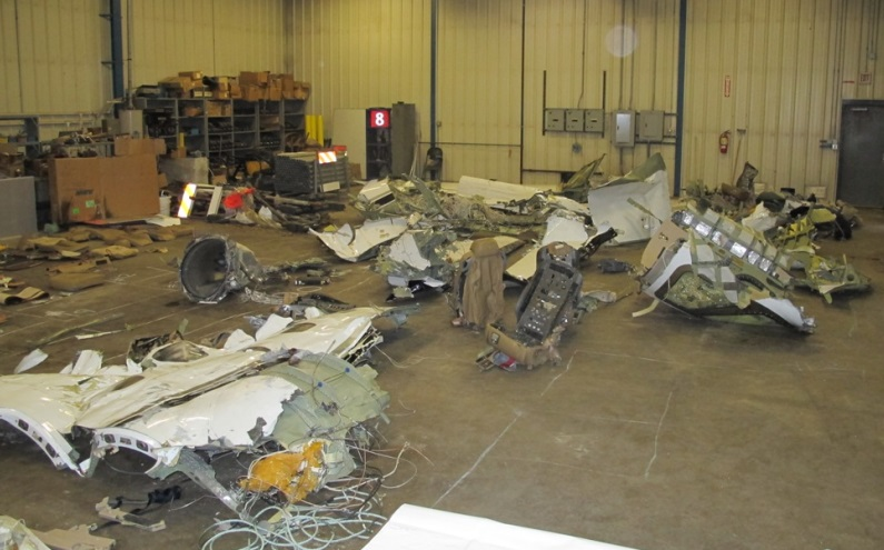 Salvaged Wreckage of Cessna 525 N614SB after CFIT Impact into Lake Erie (Credit: Textron via NTSB)
