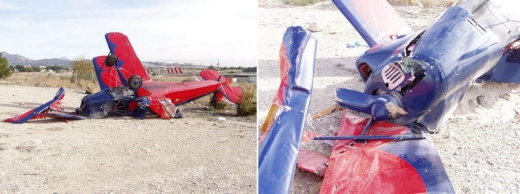 Wreckage of CASA 1131 Biplane N1950M at  Mutxamel (Alicante) on 30 December 2017 (Credit: via CIAIAC)