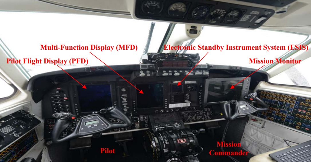 MC-12W Cockpit with Rockwell Collins Pro Line 21 Dispalys and a the Mission Display Deployed in Front of he Mission Commander (Credit: USAF)