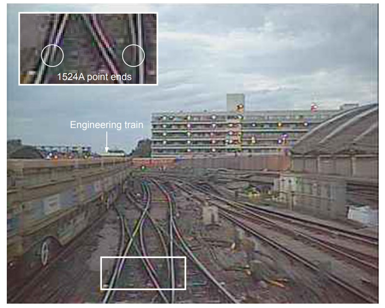 Footage from the Passenger Train's Forward Camera Showing the Points  Lying in Mid-Position (Credit: RAIB)