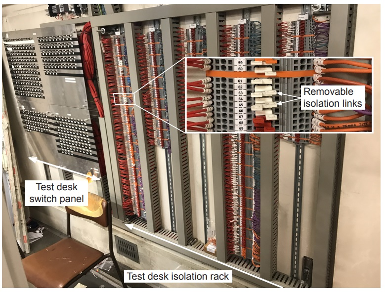 Test desk switch panel and isolation rack in Waterloo relay room. White links are conductive, red and orange links are dummy (isolating) links which are fitted to prevent unintentional fitting of conductive links. (Credit: RAIB)