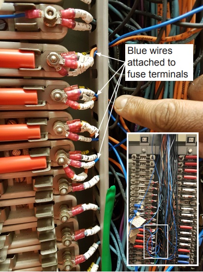 The Uncontrolled (Blue) Wiring (Credit: RAIB)
