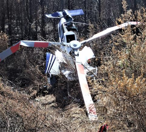 Wreckage of AS350BA ZK-HEK (Credit: TAIC)