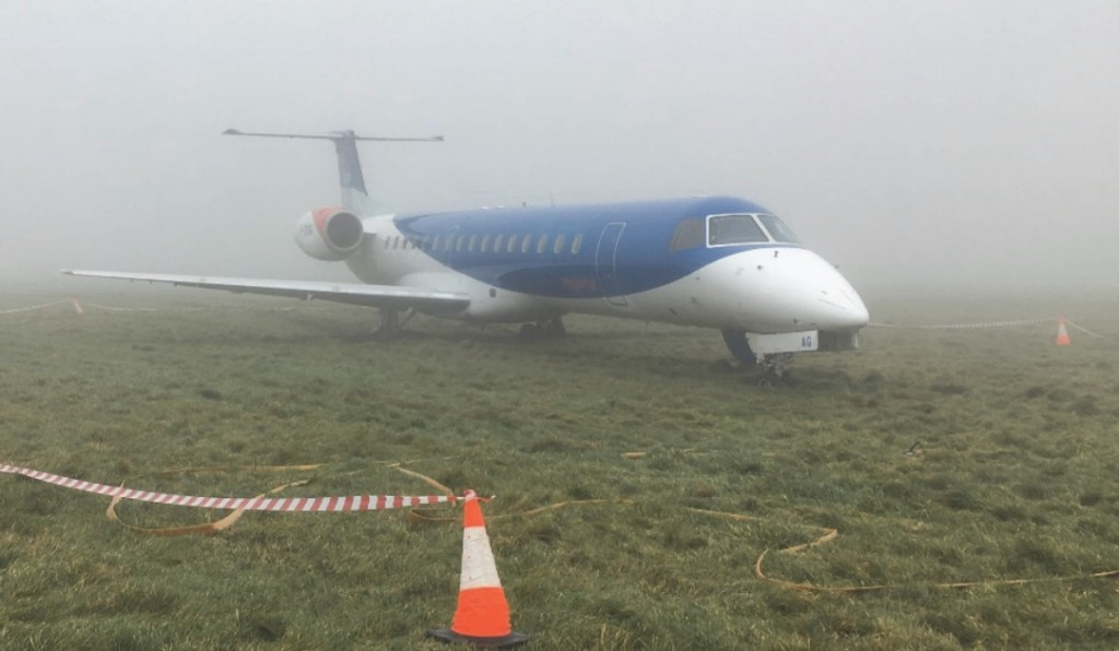 BMI ERJ145 G-CKAG on the Grass at Bristol (Credit: AAIB)
