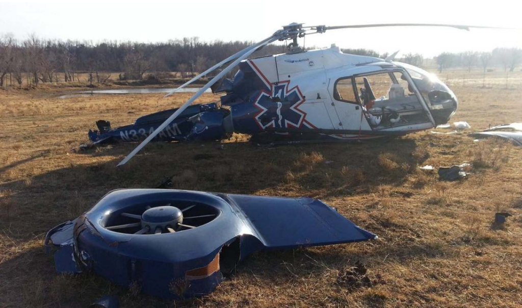 Wreckage of Air Methods EC130B4 HEMS Helicopter N334AM After Ice Ingestion and Power Loss (Credit: NTSB)