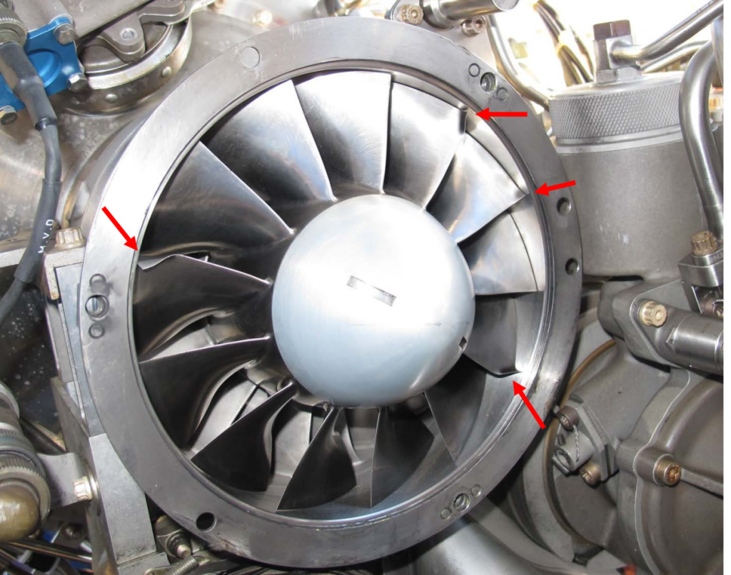 First Stage Compressor Damage to TM Arriel 2B1 of Air Methods EC130B4 HEMS Helicopter N334AM After Ice Ingestion and Power Loss (Credit: NTSB)