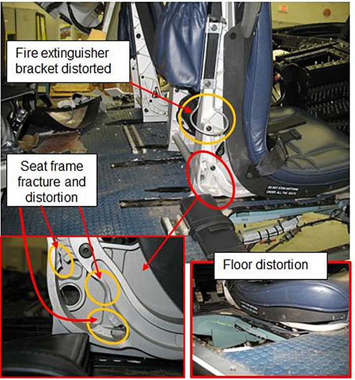 Damage to the Cockpit Floor and Pilot's Seat of RCMP AS350B3 C-FMPG (Credit: TSB)