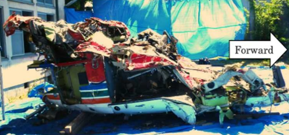 Cabin Wreckage of Nagano Fire and Disaster Prevention Aviation Center Bell 412EP JA47NA (Credit: JTSB)