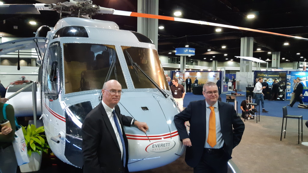 Everett Aviation's CEO Simon Everett and COO Duncan Moore with S-92A 5Y-EXZ at HeliExpo 2019 (Credit Aerossurance)