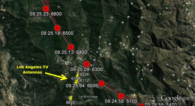 Radar data overlaid on a Google Earth image with the TV antennas and the associated heights plotted (Credit: NTSB)