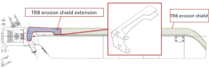AW139 Tail Rotor Blade (TRB)  erosion shield extension diagram with notations (Credit: Leonardo Helicopters via NTSB)