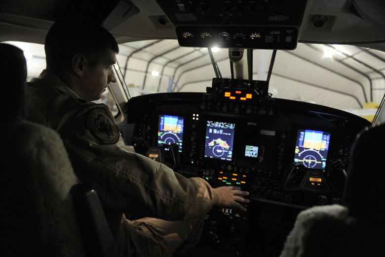 USAF Beechcraft MC-12W Liberty Cockpit (Credit: USAF / Staff Sgt. Manuel J. Martinez)