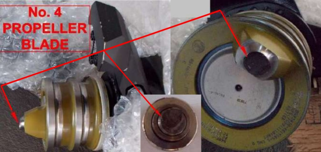 Severed Blade Trunnion Pin Caribbean Airlines ATR 72-212A 9Y-TTC  No 2 Propeller (Credit: BEA)