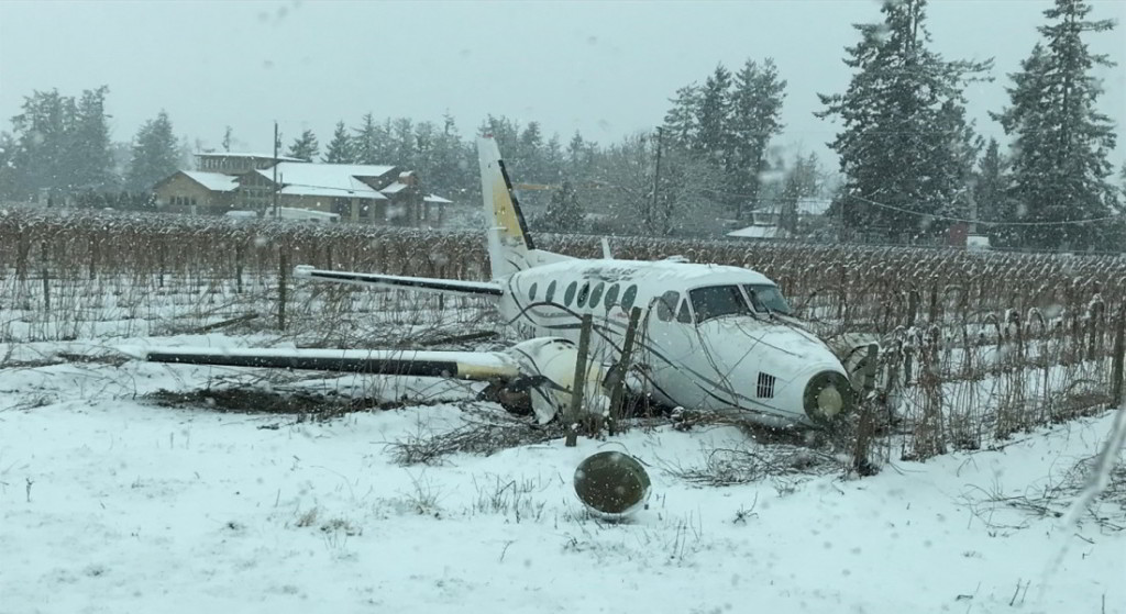 Wreckage of Island Express Air. Beechcraft King Air B100 C-GIAE at Abbotsford Airport, BC (Credit: Transport Canada via TSB)