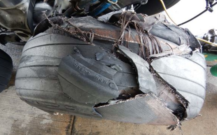 Burst Tyre from China Airlines B747-400F B-18719  (Credit: TSIB)