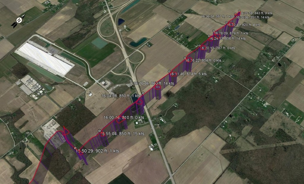 NTSB Plot of GPS Data for Vista One MD369 N4QX Just Prior to the Accident (Credit: via NTSB)
