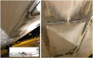 Fuselage Damage to White Airways ATR 72 CS-DJG (Credit: GPIAA)