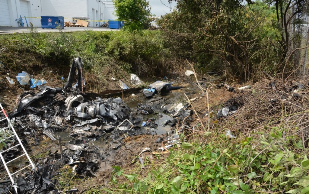 Wreckage of Metro Aviation Airbus EC135P2 N62UP (Credit: Delaware State Police via NTSB)
