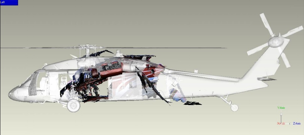 Digital Reconstruction of the Wreckage of NASC Sikorsky UH-60M NA-706 Recovered (Credit: via Taiwan TSB)