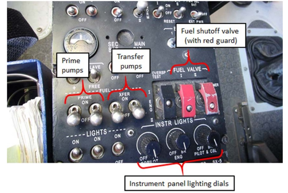 Fuel Controls and Cockpit Lighting Dimming Switches (Credit: FAA via NTSB)