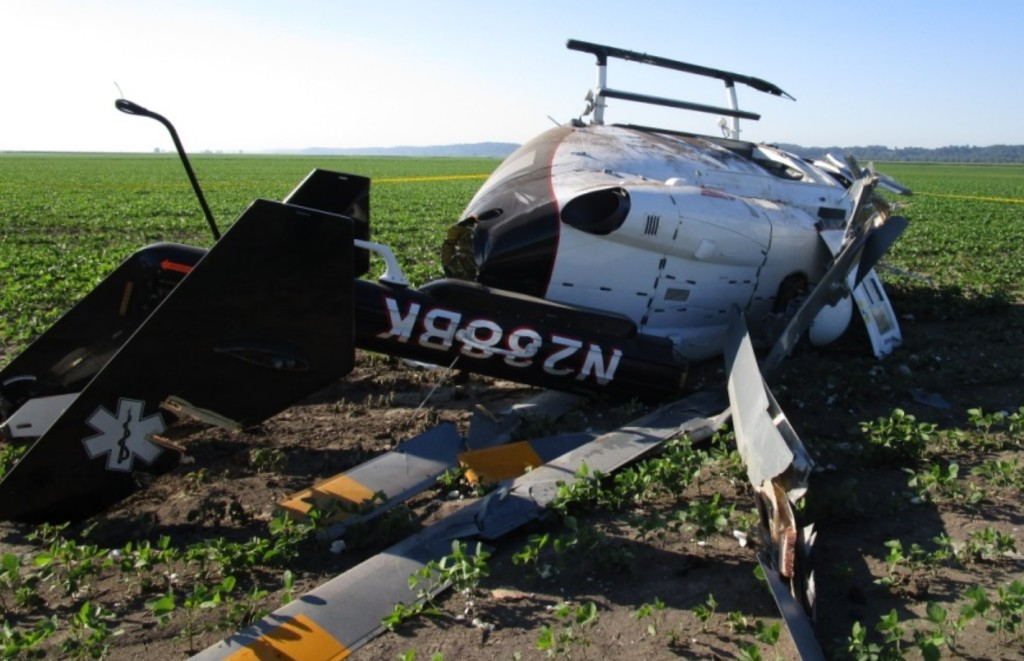 Wreckage of Air Methods Airbus Helicopters BK117B2 Air Ambulance N238BK in Perryville, MO (Credit: NTSB)