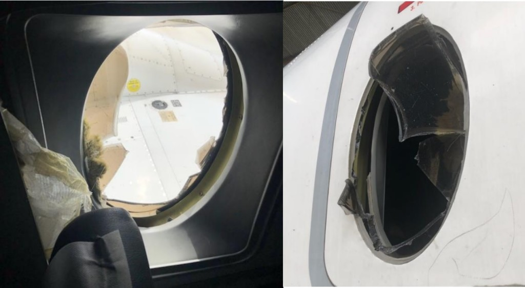 Federal Airlines Beechcraft B1900D ZS-PHX Failed Cabin Window Credit: SACAA)