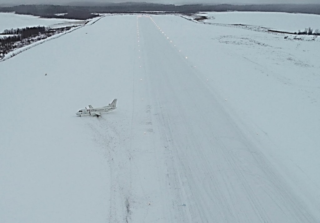 RAF-AVIA Saab 340B YL-RAF Runway Excursion at Savonlinna, Finland (Credit: via SIAF)